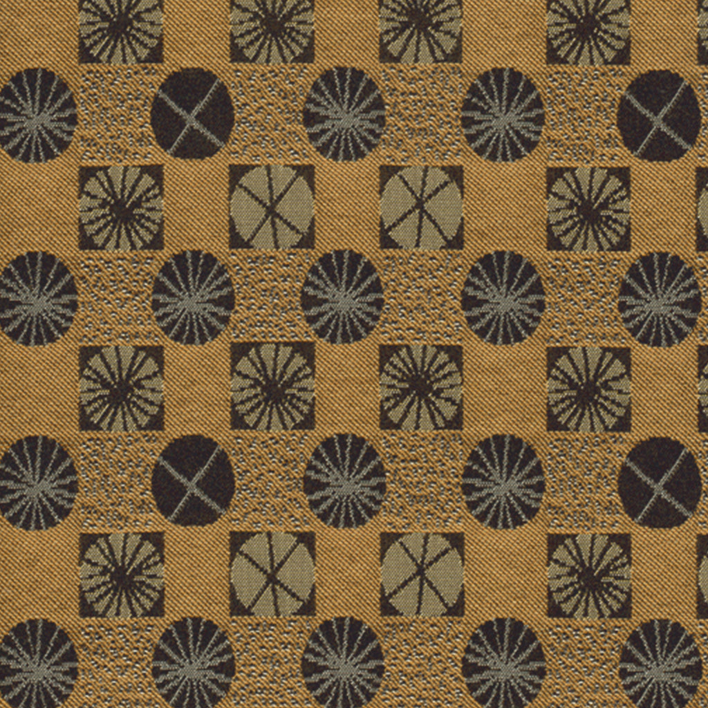 Ferris Wheel Corn Dog Brown Yellow Gold Geometric Woven Flat Upholstery Fabric