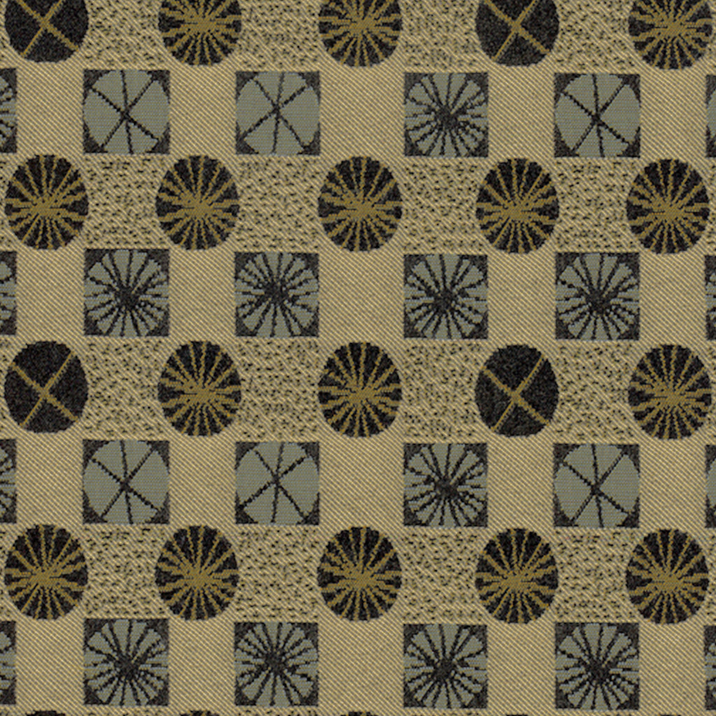 Ferris Wheel Peanuts Brown Yellow Tan Beige Gold Geometric Wov Upholstery Fabric