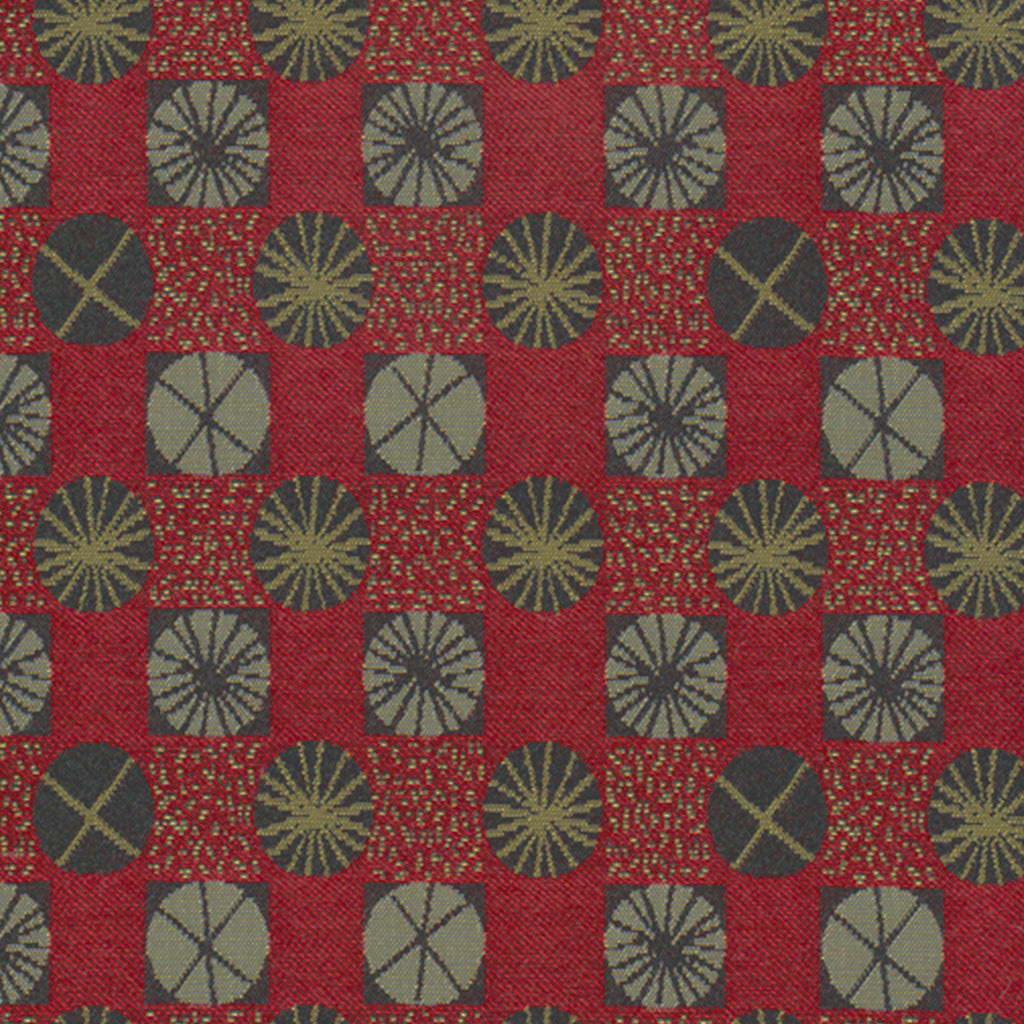 Ferris Wheel Taffy Apple Red Yellow True Red Gold Geometric Wo Upholstery Fabric