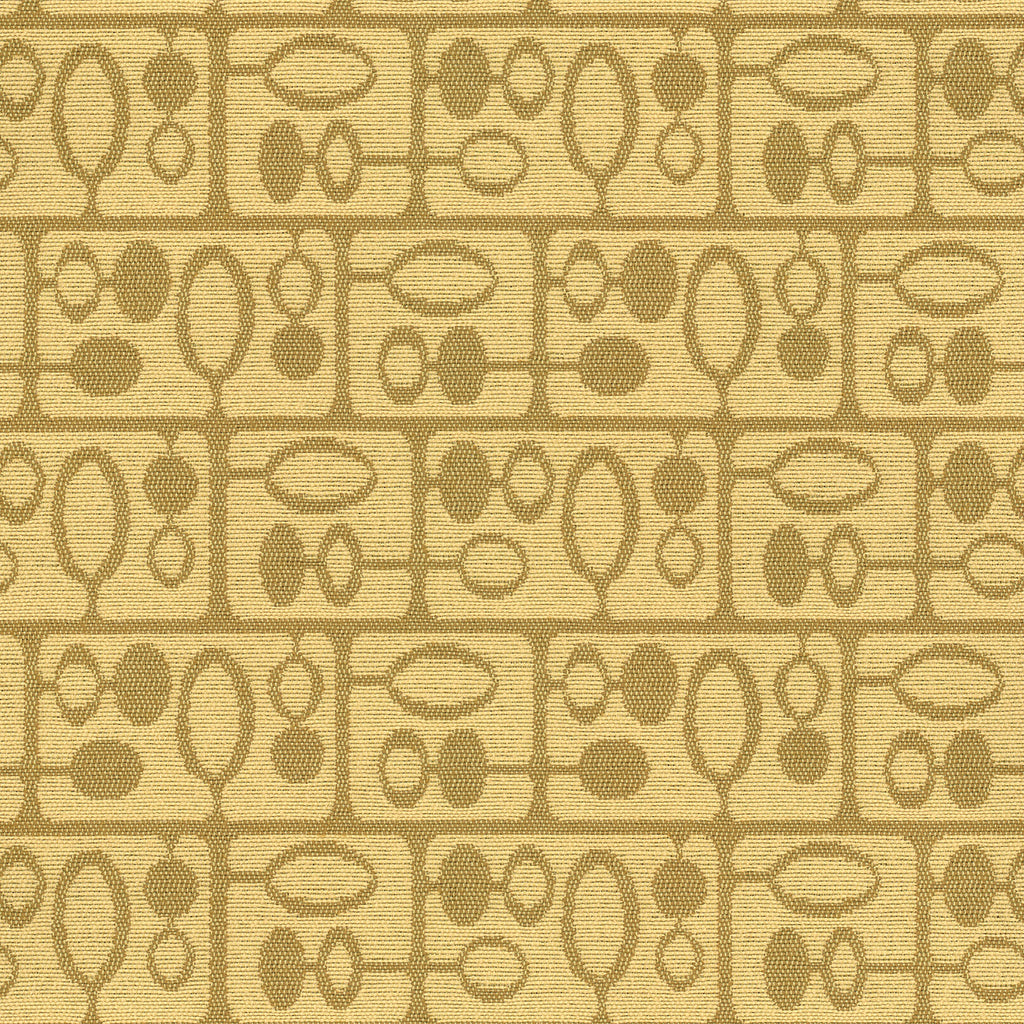 Forrest Fawn Yellow Brown Gold Geometric Woven Flat Upholstery Fabric