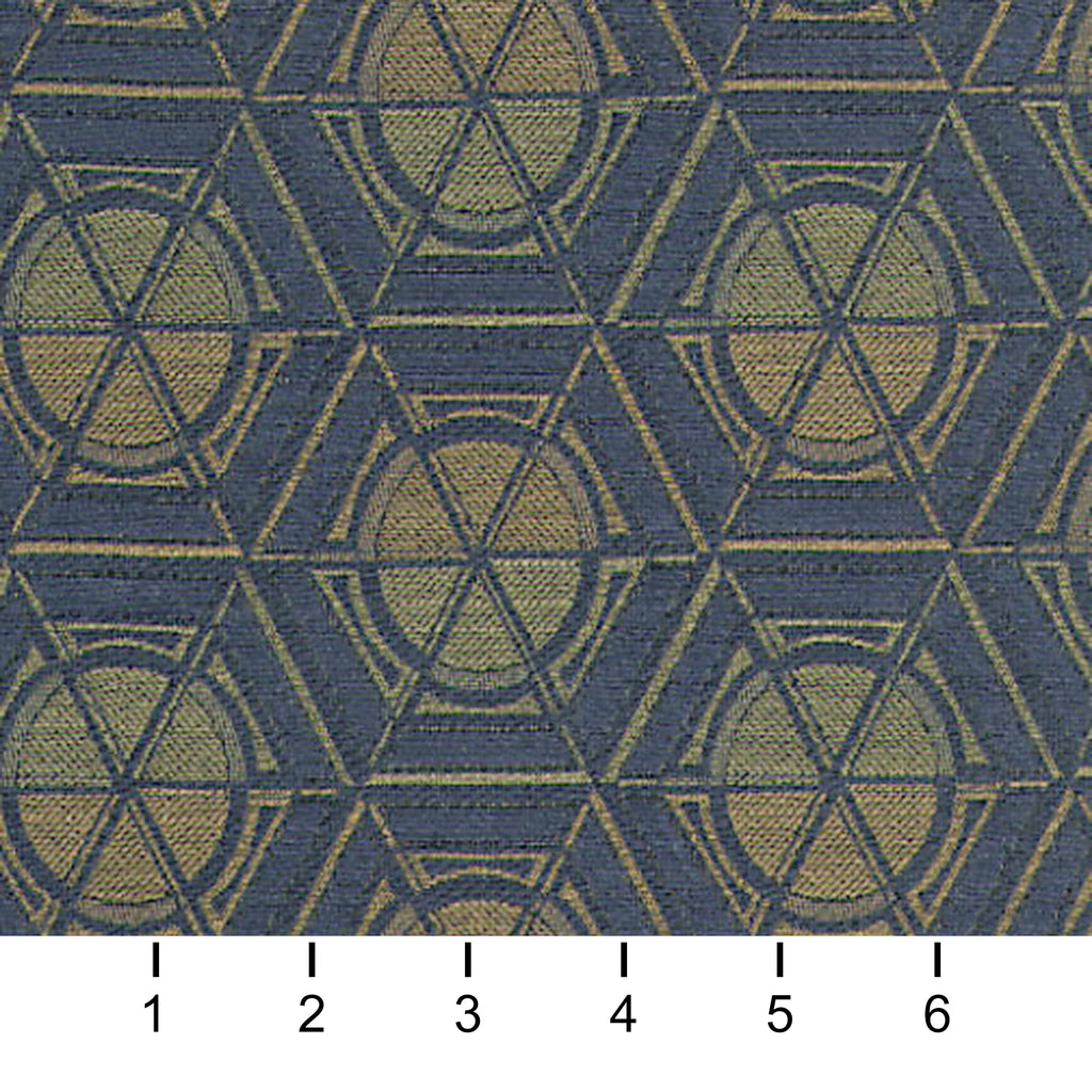 Getty Trust Blue Brown True Blue Tan Beige Geometric Woven Fla Upholstery Fabric