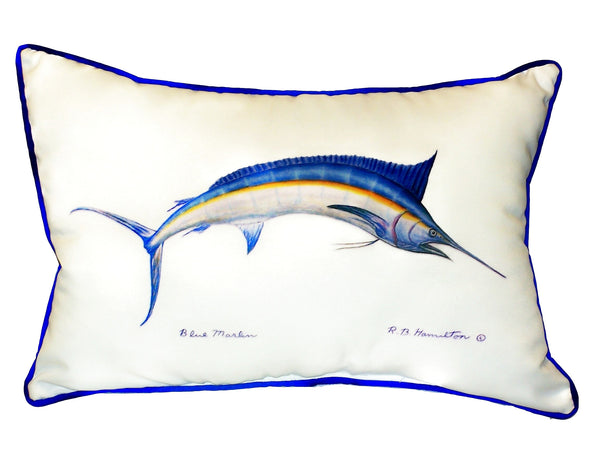 Blue Marlin Large Indoor or Outdoor Pillow  15x22