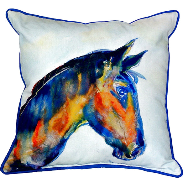 Blue Horse Large Indoor or Outdoor Pillow