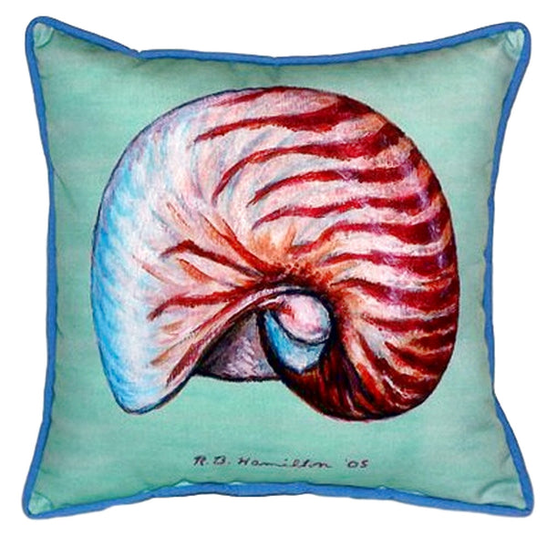 Nautilus - Teal Indoor or Outdoor Pillow 18x18