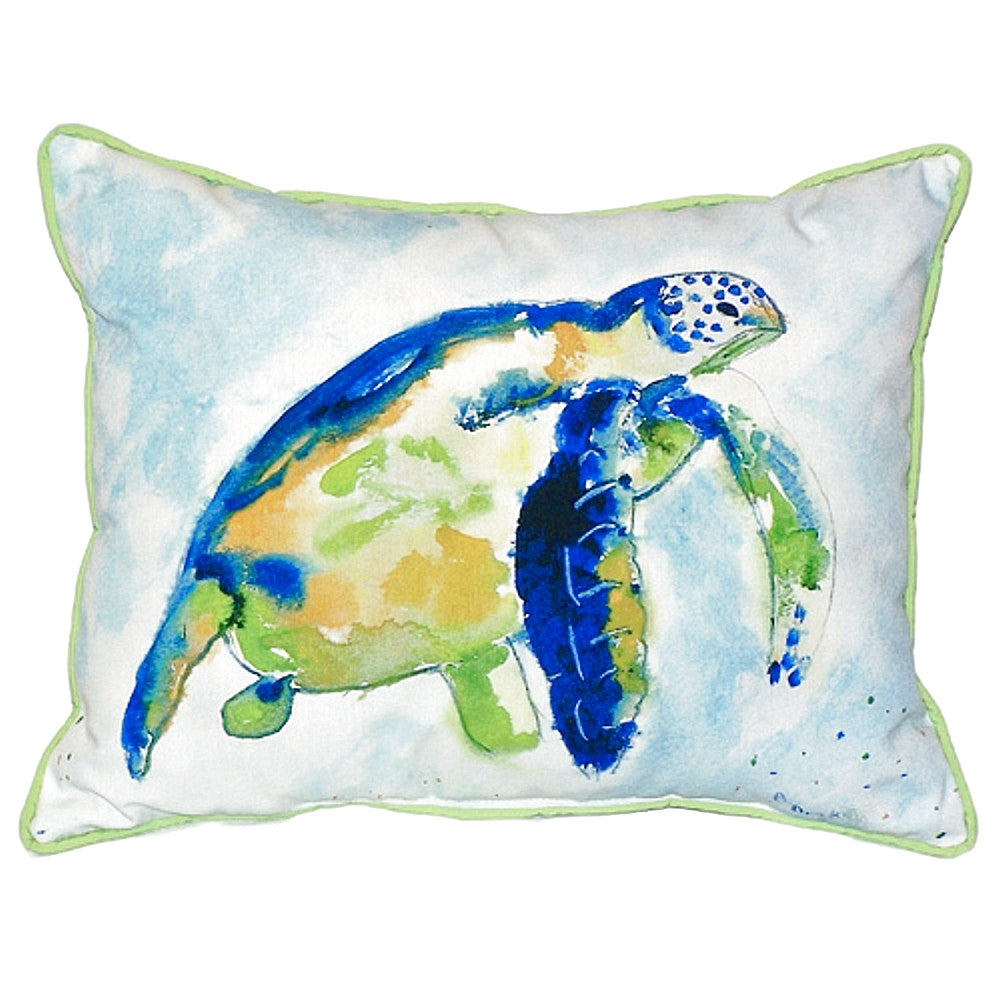 Blue Sea Turtle Large Indoor or Outdoor Pillow 16x20