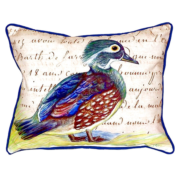 Female Wood Duck Script Large Indoor or Outdoor Pillow 16x20