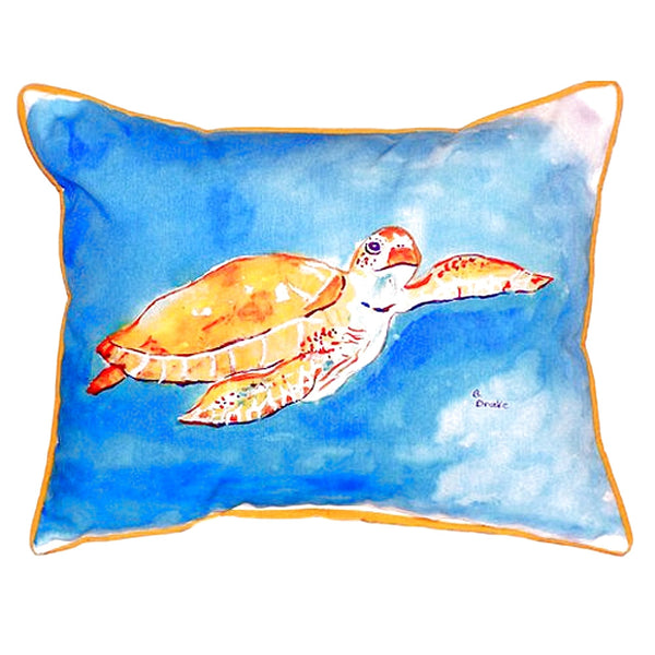 Brown Sea Turtle Large Indoor or Outdoor Pillow 16x20