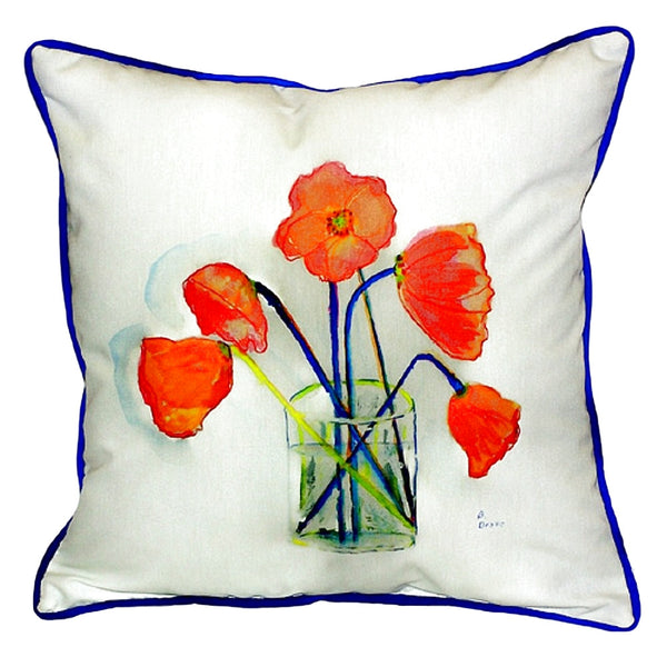 Poppies in Vase Large Indoor or Outdoor Pillow 18x18