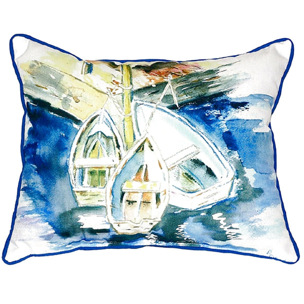 Three Row Boats Large Indoor or Outdoor Pillow