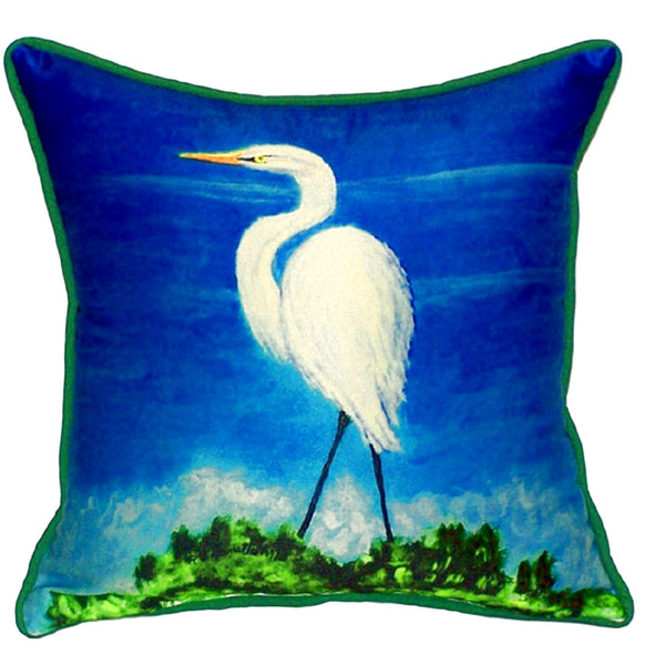 Great Egret Large Indoor or Outdoor Pillow 18x18