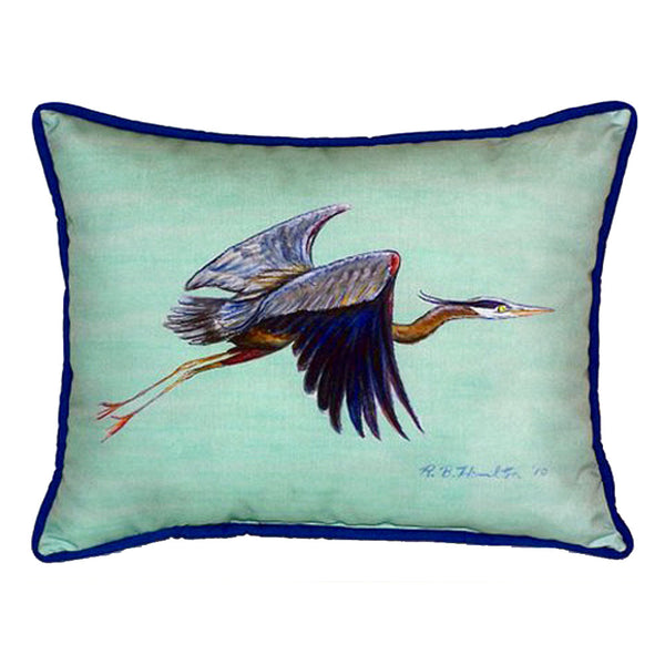 Flying Blue Heron - Teal Large Indoor or Outdoor Pillow 16x20