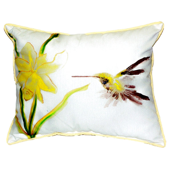 Yellow Hummingbird Large Indoor or Outdoor Pillow