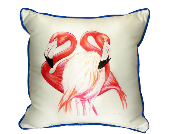 Two Flamingos Large Indoor or Outdoor Pillow  18x18