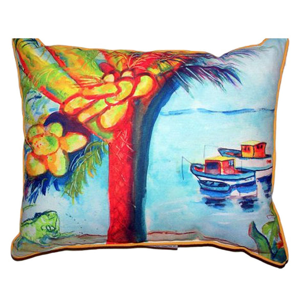 Cocoa Nuts & Boats Large Indoor or Outdoor Pillow 18x18