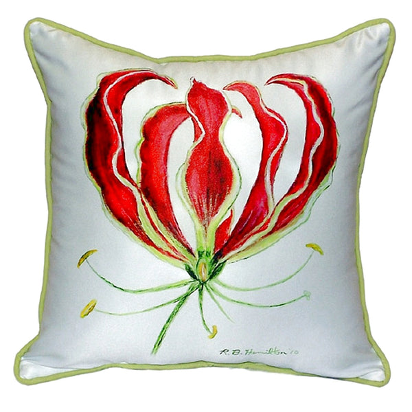 Red Lily Large Indoor or Outdoor Pillow 18x18