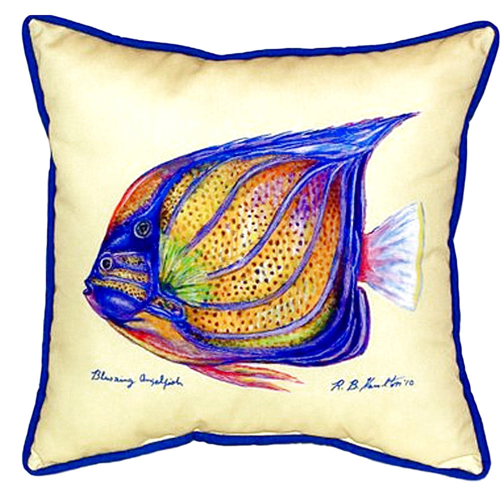 Blue Ring Angelfish - Yellow Indoor or Outdoor Pillow 18x18