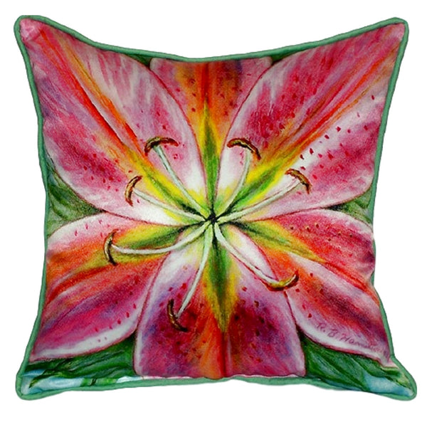 Pink Lily Large Indoor or Outdoor Pillow  18x18