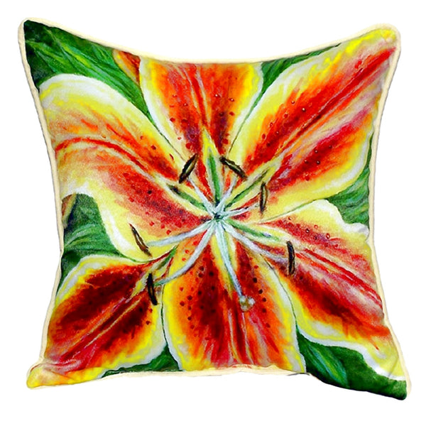 Yellow Lily Large Indoor or Outdoor Pillow 18x18