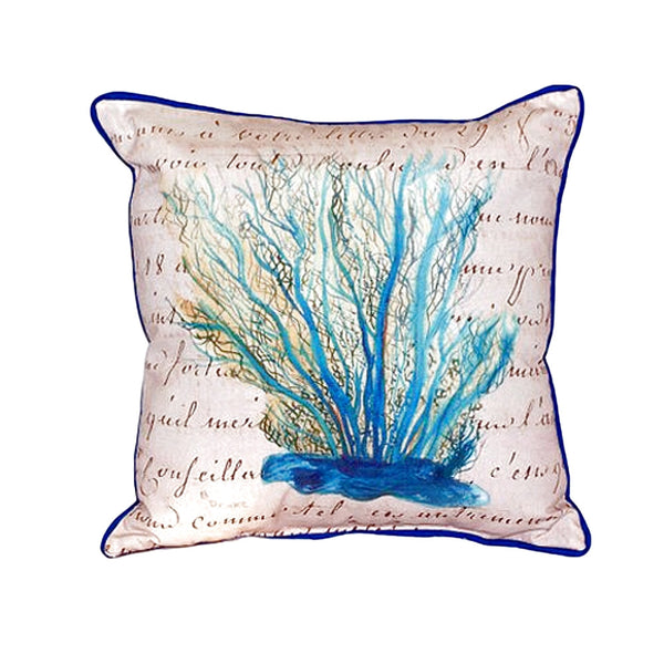 Blue Coral Beige Large Indoor or Outdoor Pillow 18x18