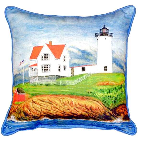 Nubble Lighthouse Large Indoor or Outdoor Pillow 15x22