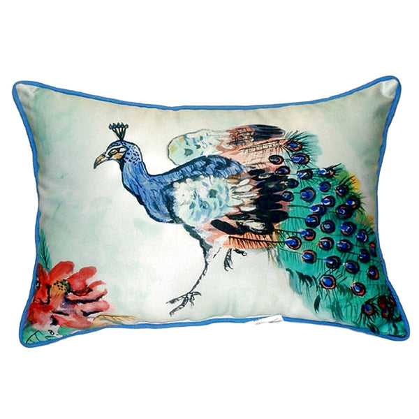 Peacock Large Indoor or Outdoor Pillow 15x22