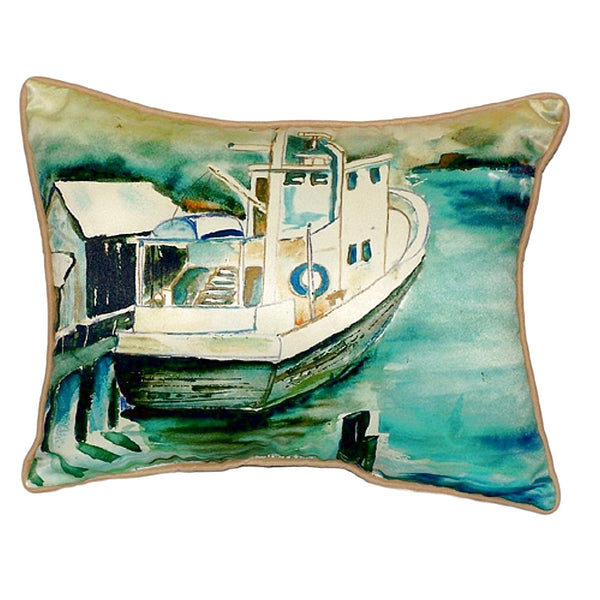 Oyster Boat Large Indoor or Outdoor Pillow 16x20