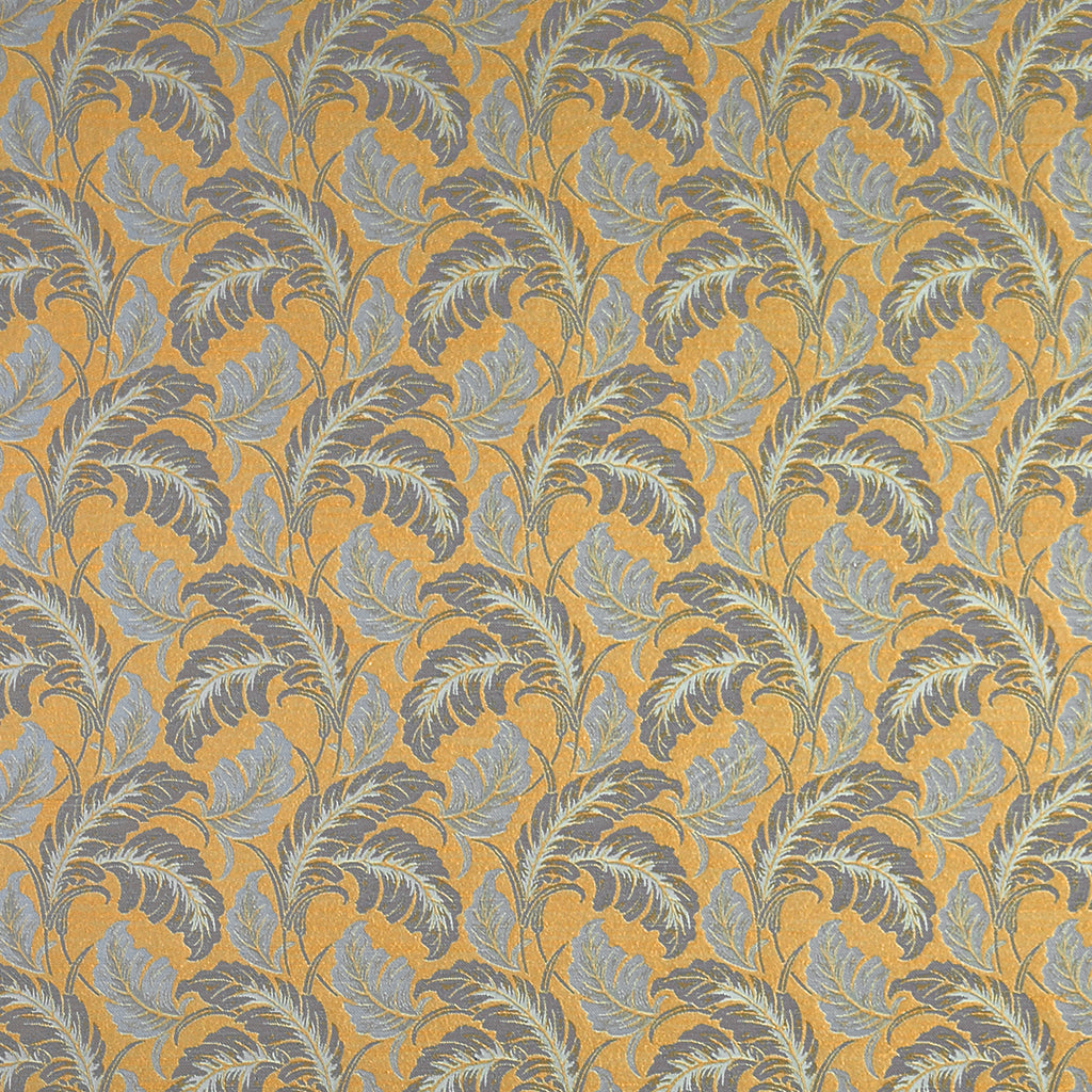 In Dreams Departure Yellow Blue Gold Aqua Sky Leaves Floral Wo Upholstery Fabric