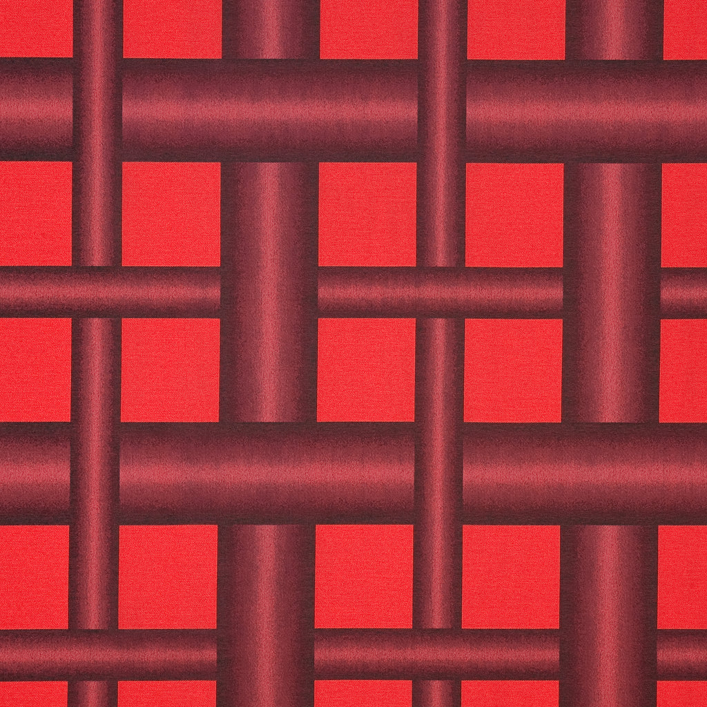 Kogler Blaze Red True Red Geometric Woven Flat Upholstery Fabric