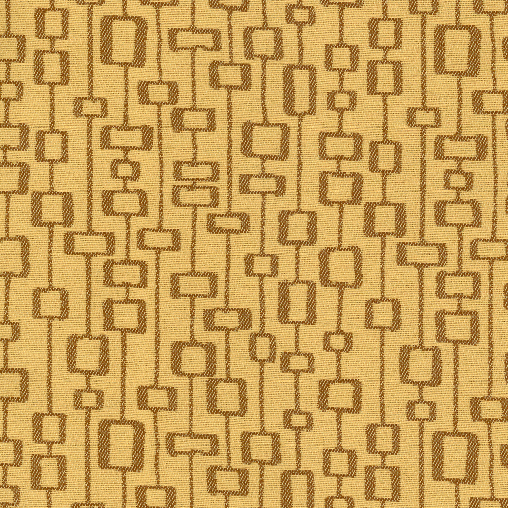 Leo August Yellow Brown Gold Geometric Woven Flat Upholstery Fabric