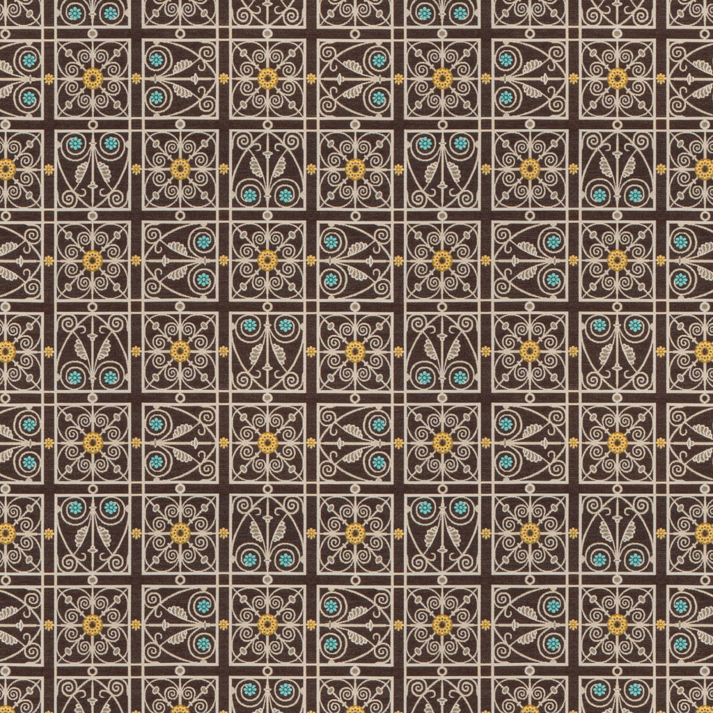 Liverpool Dakotas Brown Gray Chocolate White Silver Curvilinea Upholstery Fabric