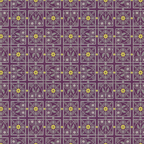 Liverpool Imagine Purple Yellow Mauve true Purple Curvilinear  Upholstery Fabric