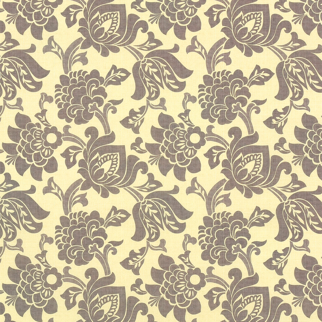 Mezzanine Periwinkle Brown Gray Tan Beige Gray Charcoal Leaves Upholstery Fabric