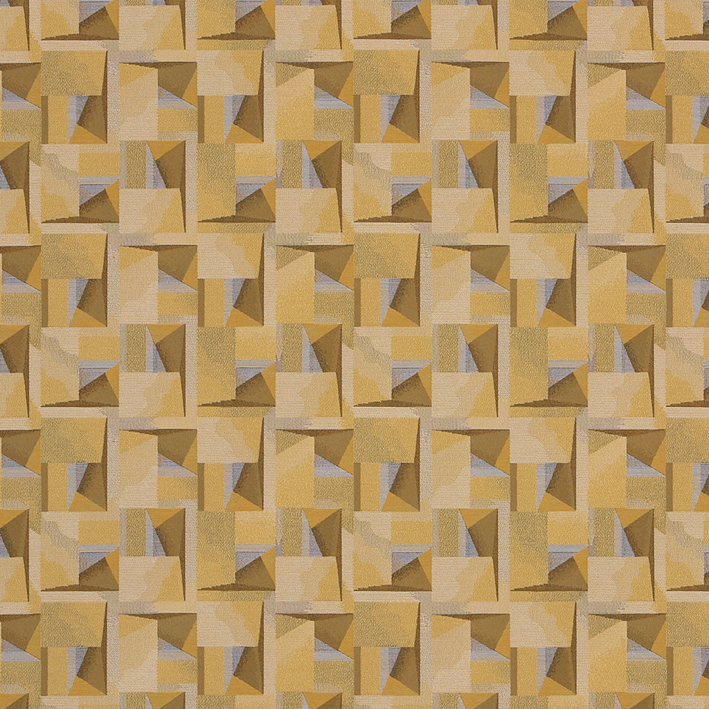 Minimal Infinite Yellow Brown Gold Abstract Woven Flat Upholstery Fabric