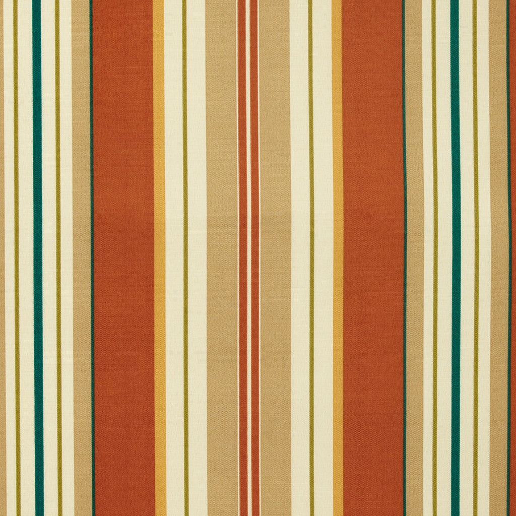 Lancester Clay Red Beige White Blue Green Stripe Print Outdoor Upholstery Fabric
