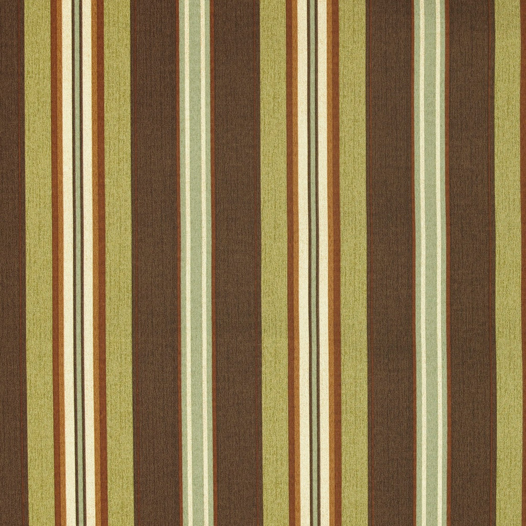 St Topez Green Brown Beige Stripe Print Outdoor Upholstery Fabric