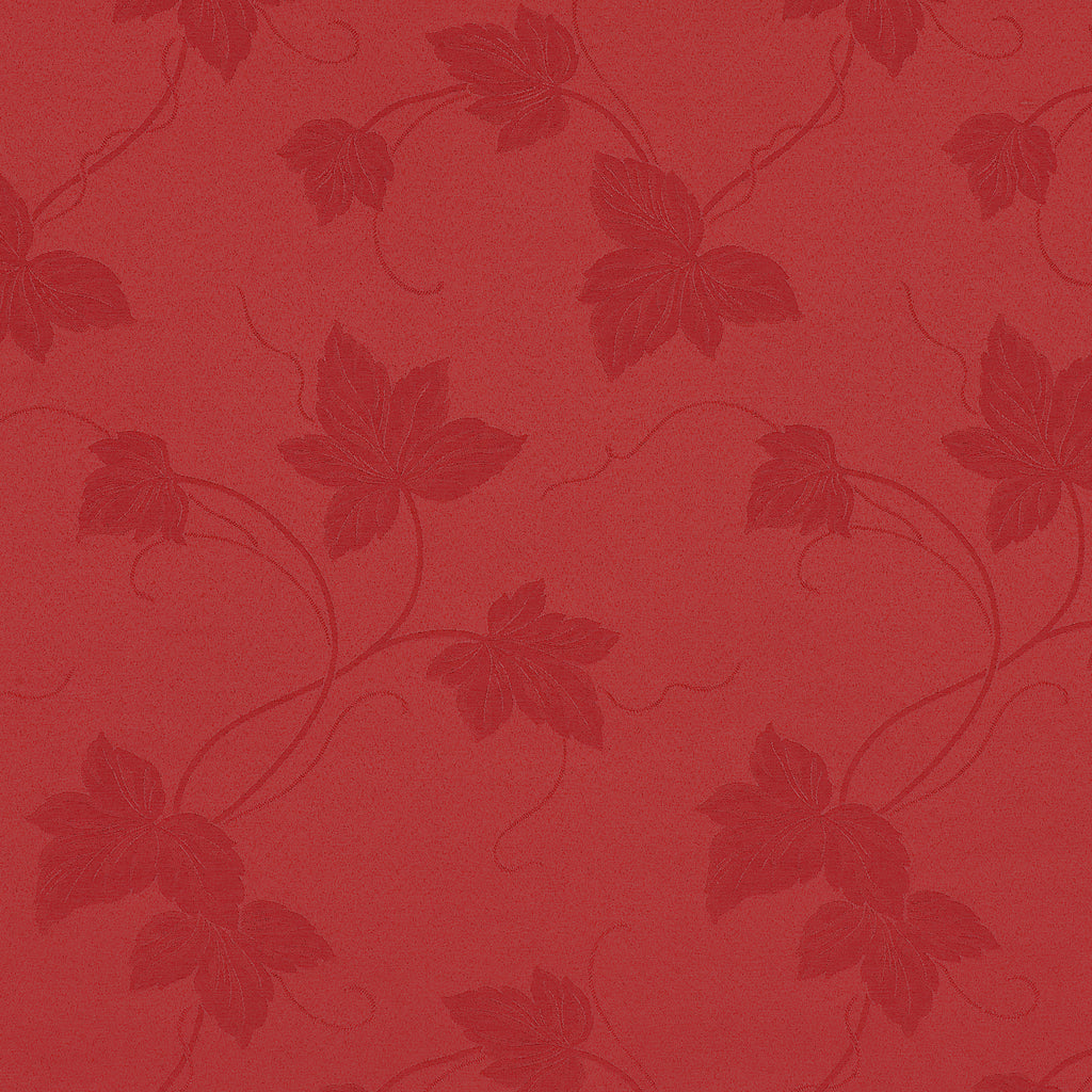 Root Garden Rose Red Burgundy Leaves Floral Woven Flat Upholstery Fabric