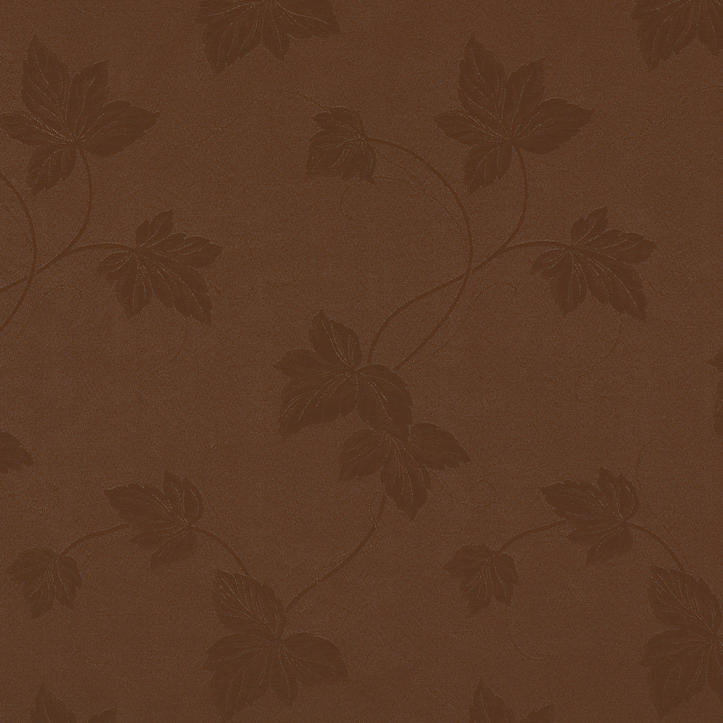 Root Garden Saddle Brown Chocolate Leaves Floral Woven Flat Upholstery Fabric