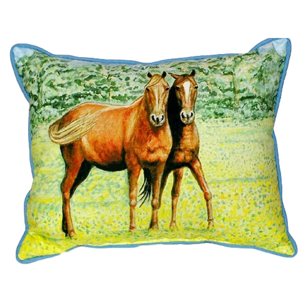 Two Horses Small Indoor or Outdoor Pillow 11x14
