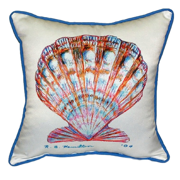 Scallop Shell Small Outdoor or Indoor Pillow 12x12