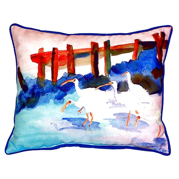 White Ibises Small Indoor or Outdoor Pillow 11x14