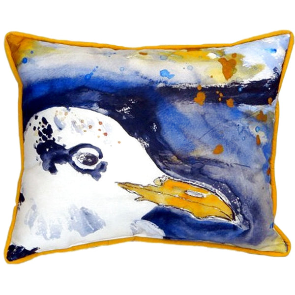 Gull Portrait Right Small Indoor or Outdoor Pillow 11x14