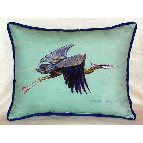 Flying Blue Heron - Teal Small Outdoor or Indoor Pillow 11x14