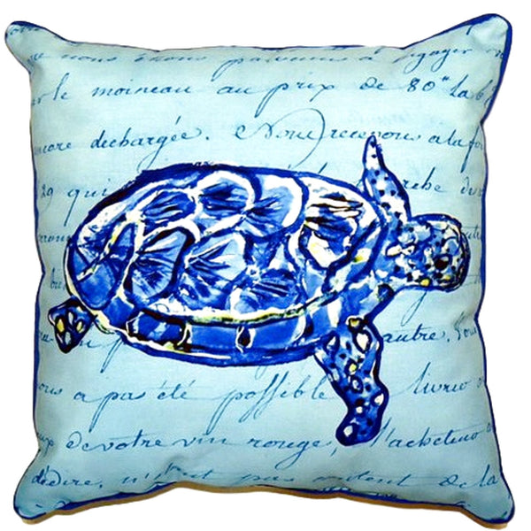 Sea Turtle Blue Script Small Outdoor or Indoor Pillow 12x12