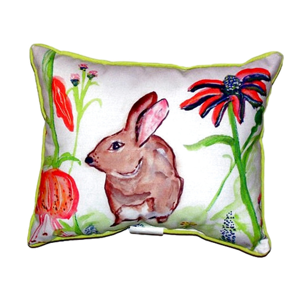Brown Rabbit Left Small Indoor or Outdoor Pillow 11x14