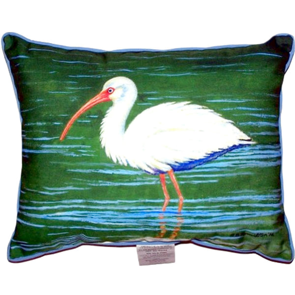 White Ibis Small Indoor or Outdoor Pillow 11x14