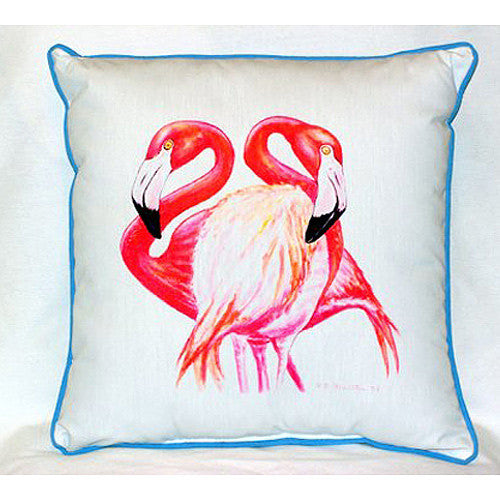 Two Flamingos Small Indoor or Outdoor Pillow  12x12