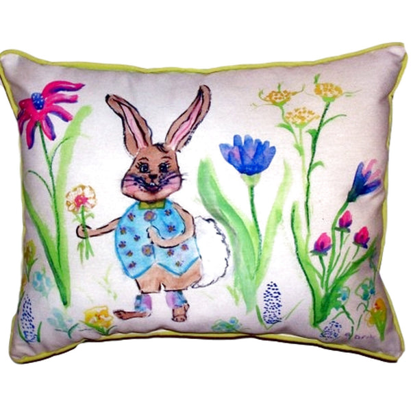 Happy Bunny Small Indoor or Outdoor Pillow 11x14