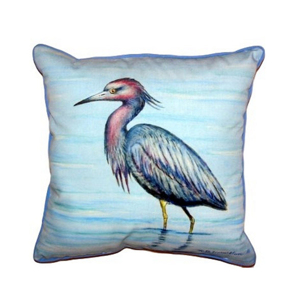 Little Blue Heron Small Indoor or Outdoor Pillow 12x12