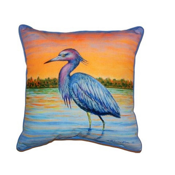 Heron & Sunset Small Indoor or Outdoor Pillow 12x12