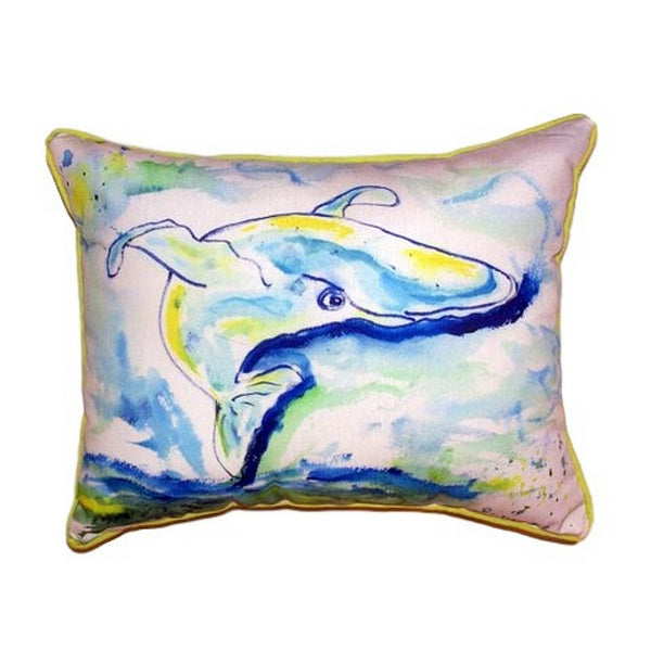 Blue Whale Small Indoor or Outdoor Pillow 11x14